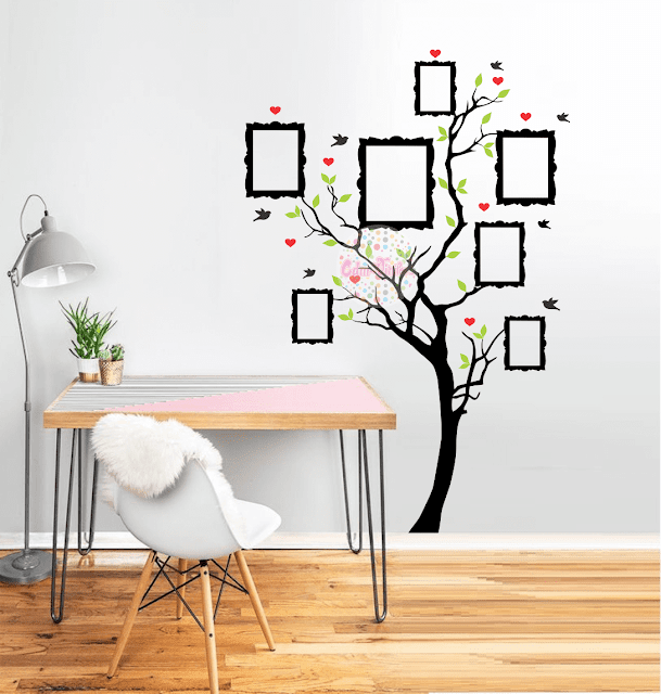 Vinilo decorativo arbol de la vida genealogico con for Frases en vinilo para pared