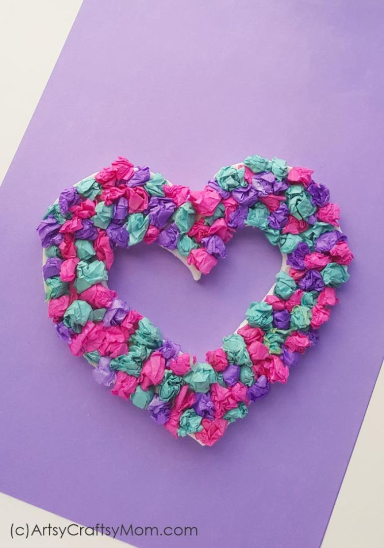 crepe paper heart wreath craft