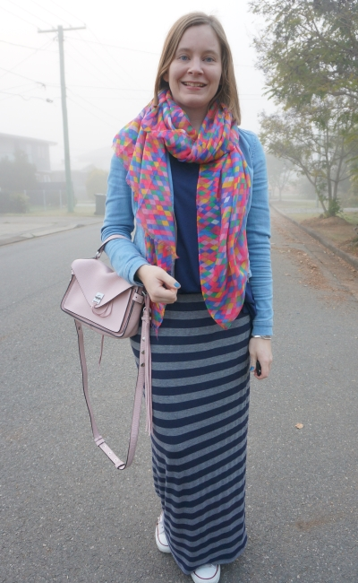 denim jacket striped maxi skirt converse pink accessories scarf and bag spring outfit | away from blue
