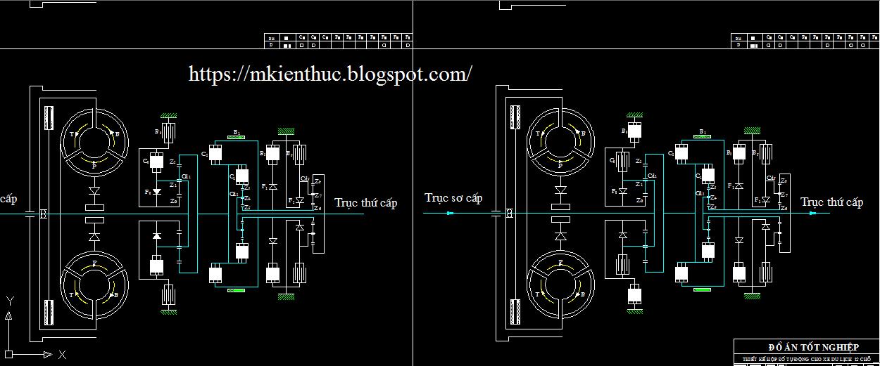 Bản vẽ đồ án thiết kế hộp số tự động lắp cho xe du lịch 12 chỗ