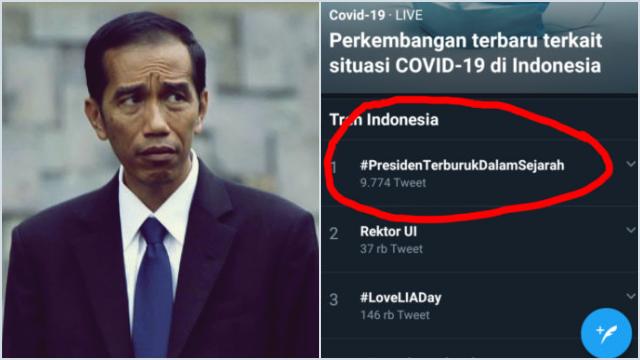 Tagar #PresidenTerburukDalamSejarah Trending di Twitter, Publik: Shame on You! Just Get Down