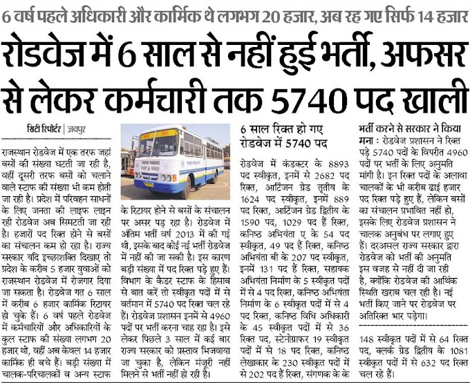 Rajasthan Roadways Bharti 2021 : राजस्थान रोडवेज भर्ती 2021:Rajasthan Roadways Vacancy 2021:राजस्थान रोडवेज भर्ती 2021