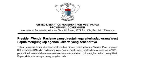 Presiden Wenda: Rasisme yang direstui negara terhadap orang West Papua mengungkap agenda Jakarta yang sebenarnya