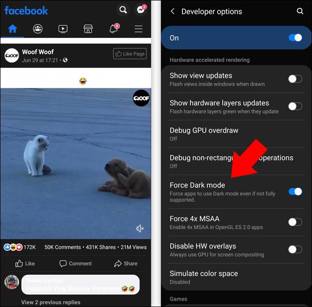 طريقة تفعيل الوضع الليلي في الفيسبوك على الكمبيوتر أو الهاتف Android-10-force-dark-mode-1
