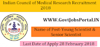 Indian Council of Medical Research Recruitment 2018 – 18 Young Scientist & Senior Scientist