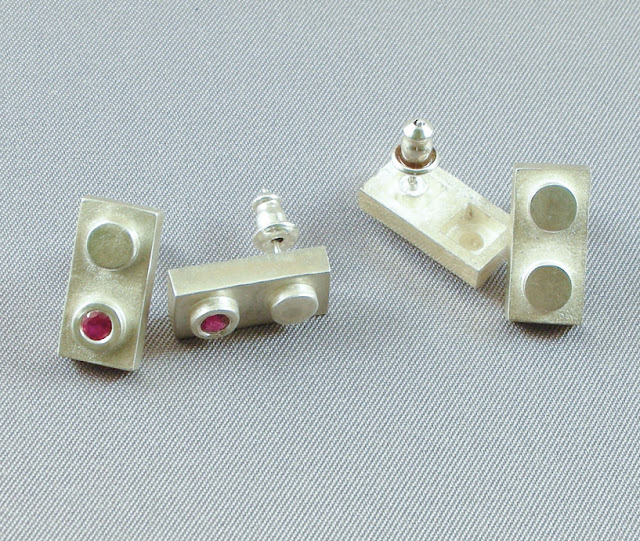 sterling silver and gem LEGO earrings