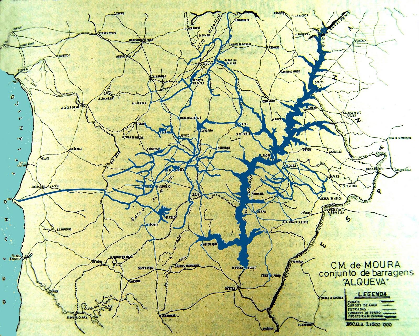 mapa de portugal barragem do alqueva Beja y Arrabaldes: Barragem de Alqueva (II)   1975   Aprovação mapa de portugal barragem do alqueva