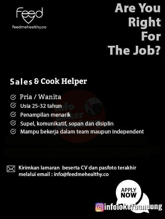Lowongan Kerja Sales & Cook Helper Feedmehealthy Bandung Maret 2020