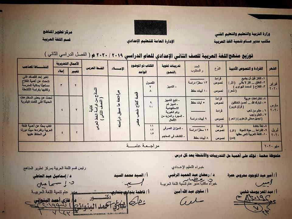 توزيع منهج اللغة العربية لصفوف المرحلة الإعدادية ترم أول 2019 / 2020 2-0