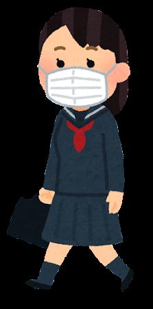 マスクを付けて歩く学生のイラスト(セーラー服の女子学生)
