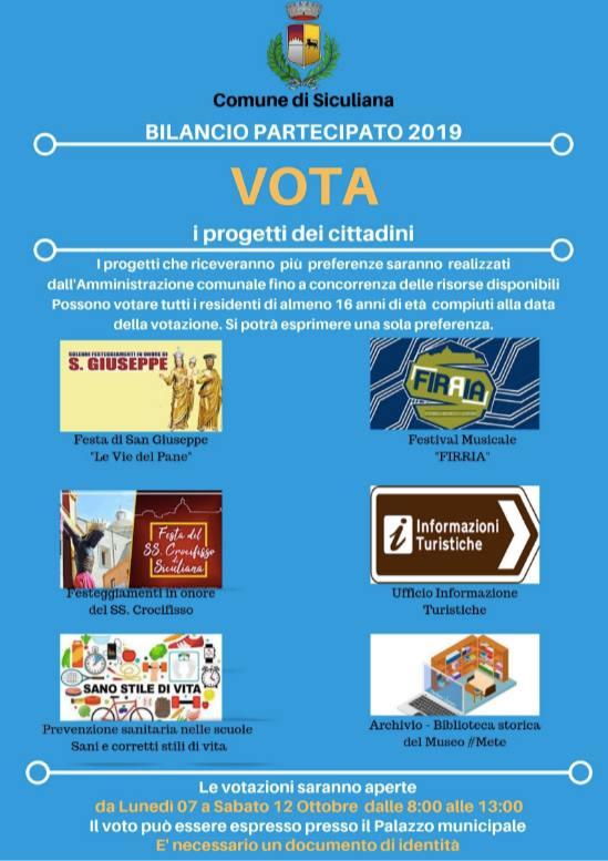 Bilancio partecipato a Siculiana, al via il 7 ottobre votazioni progetti: caccia al voto sui social