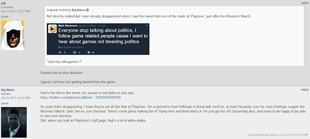 NeoGAF Mark Stevenson Playtonic Twitter stop talking about politics game related people lot of white dudes douches
