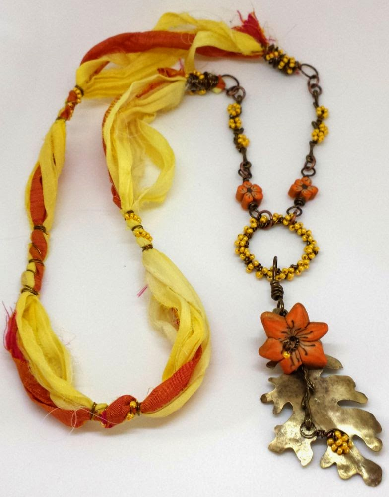 Beed Peeps Swap 'n Hop ~ flowers by Elaine Robataille, brass leaf by Marie Covert, brass branch, wire wrapping, copper, sari silk, forsythia wreath, ooak necklace :: All Pretty Things