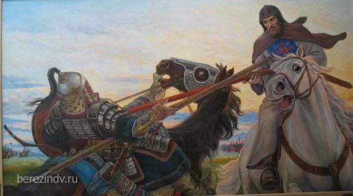 Поединок Александра Пересвета с Челубеем. Куликовская битва 1380 г.