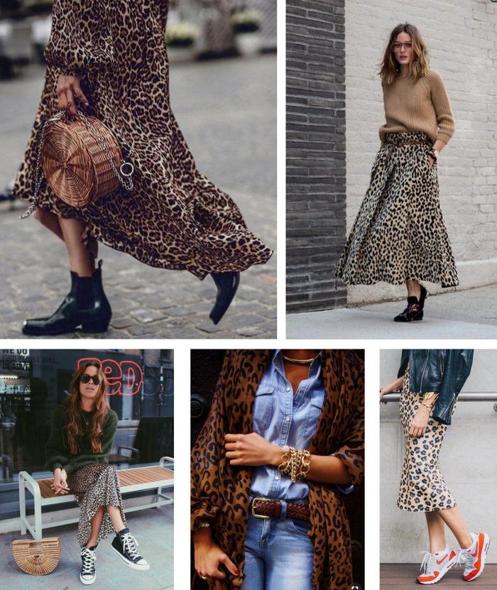 ideas de outfit con estampado animal tendencia de temporada de otoño en zapatos ropa complementos