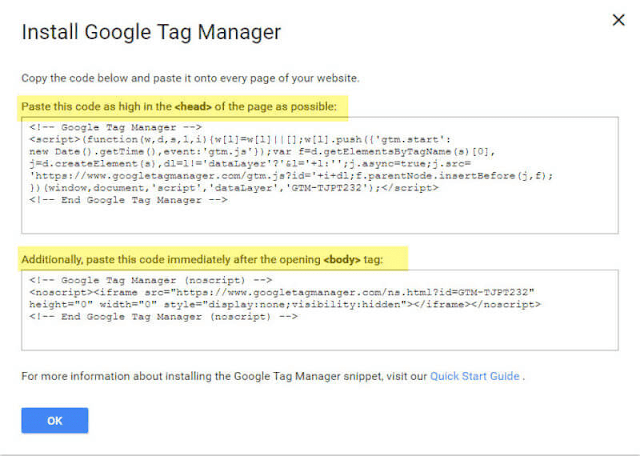 Install google tag manager (gtm) container || PhpMyPassion