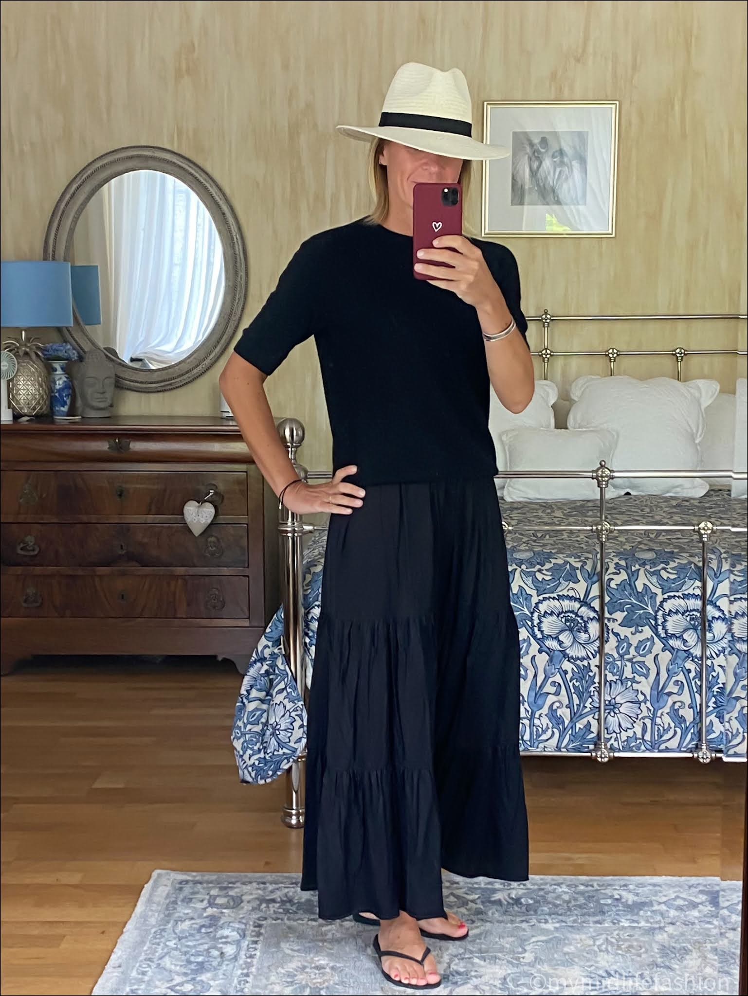 my midlife fashion, saint and Sofia greenwich tiered maxi skirt, Zara Panama hat, h and m short sleeve cashmere jumper, havaianas slim fit flop flops