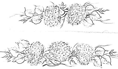 pintura em tecido flores risco toalha banho hortênsias