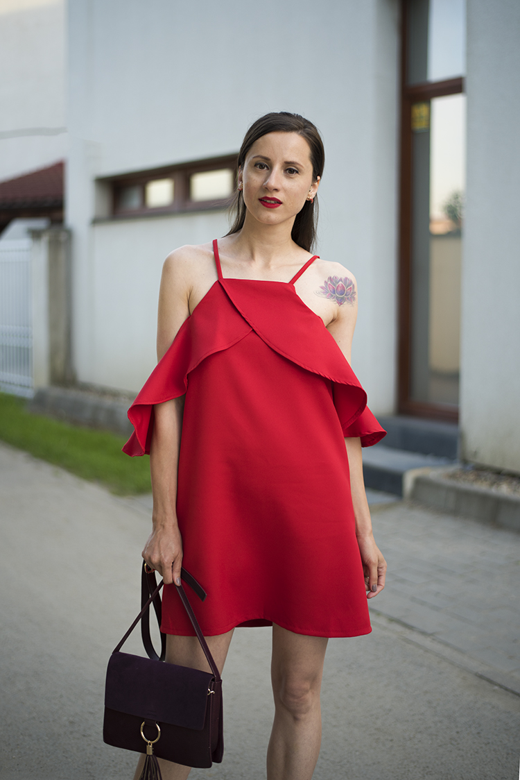 Skinny Buddha red cold-shoulder dress