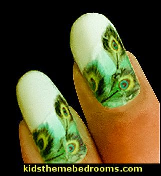 nail design - nail stickers - nail polish -  peacock nail design ideas - nail decorating ideas - peacock water decal stickers - peacock colors - peacock theme