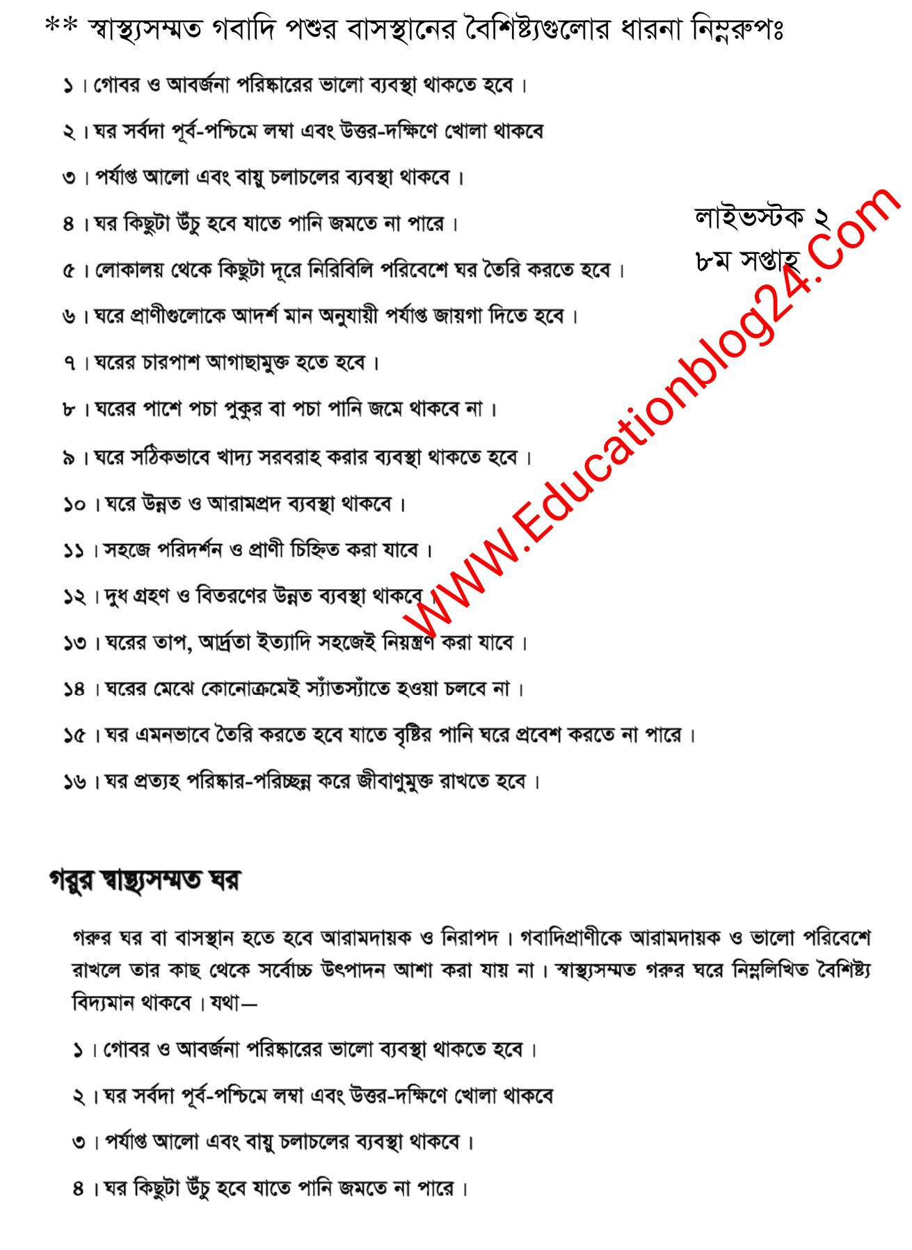 SSC / Dakhil (Vocational) Livestock Rearing and Farming Assignment Answer 2021 2