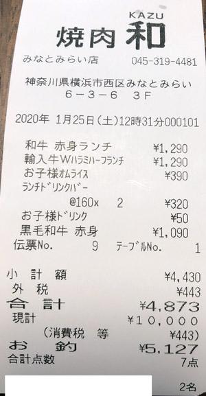 焼肉 和 みなとみらい店 2020/1/25 飲食のレシート