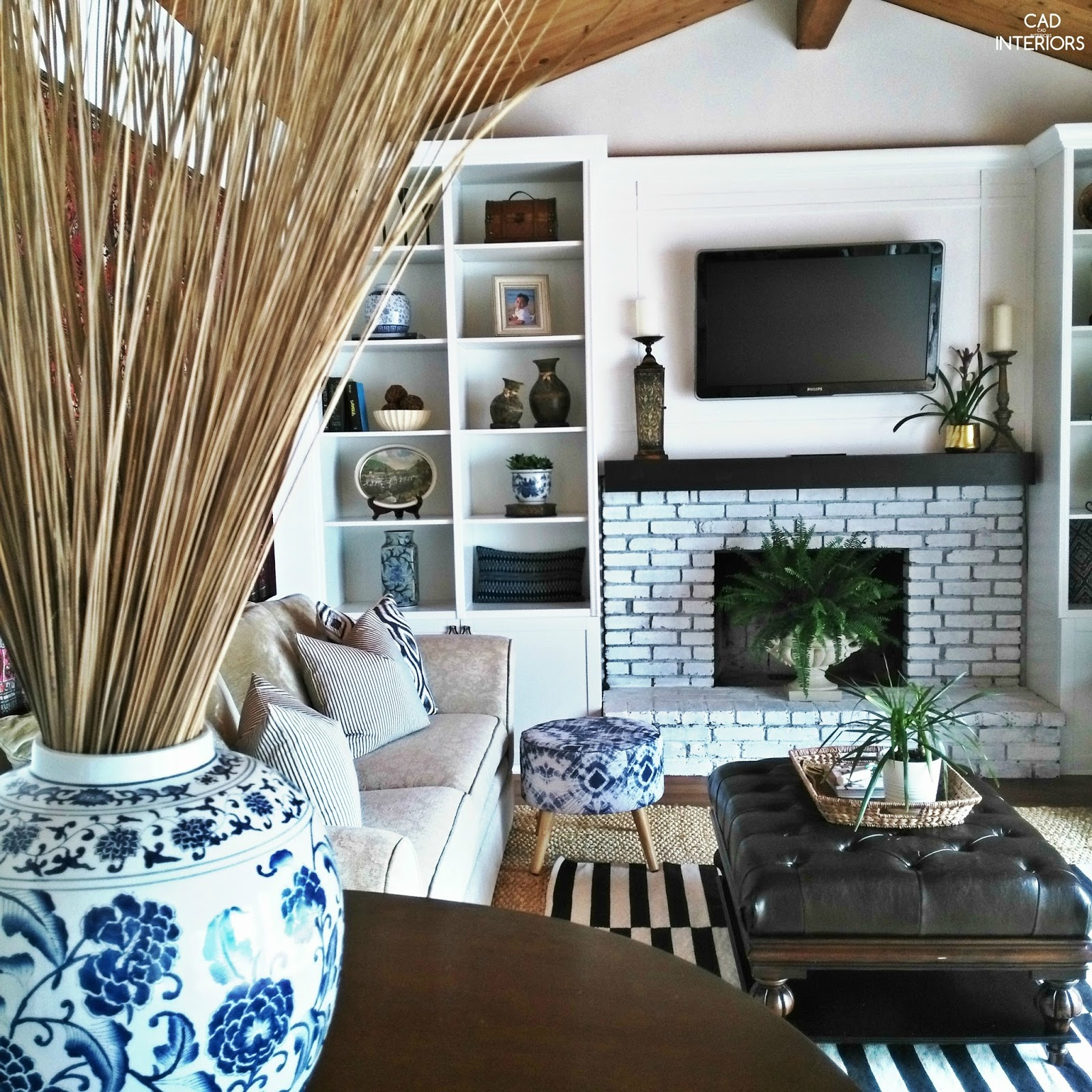 interior design decorating summer home tour blue white black modern transitional bohemian home decor organic natural textures plants styling