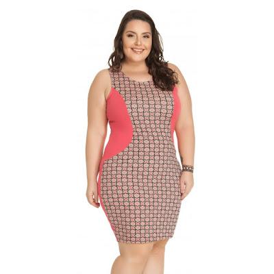 Vestido com Recorte Justinho Rosa Miss Masy Plus Size