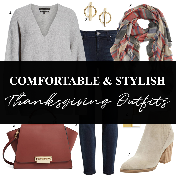 skinny jeans, grey sweater, style blogger thanksgiving outfit