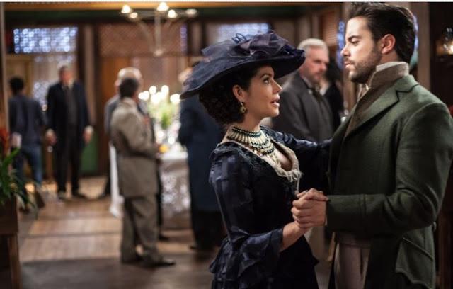 Escreva mãe cena novela, Maria Isabel (Thais Fersoza) com vestido de festa, casamento Tereza