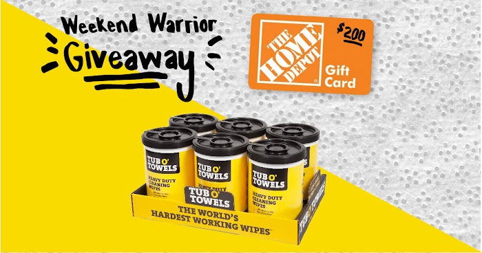 $200 Home Depot Gift Card Giveaway + 6 tubs of Tub O' Towels (Worth Over : $269)