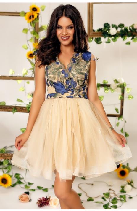 rochie eleganta de ocazie cu fusta confectionata din tul si bustul din broderie cu motive florale, banda in talie, decolteul in V, manecile scurte
