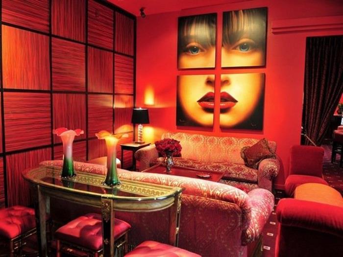 kırmızı oturma odası dekorasyon tasarımları