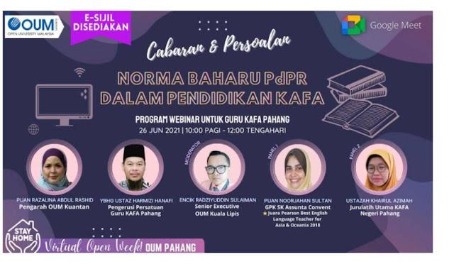 Webinar OUM Guru KAFA Pahang - Norma Baharu PdPR dalam Pendidikan KAFA