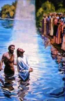 Ilustración de Bautizo de Jesús a colores