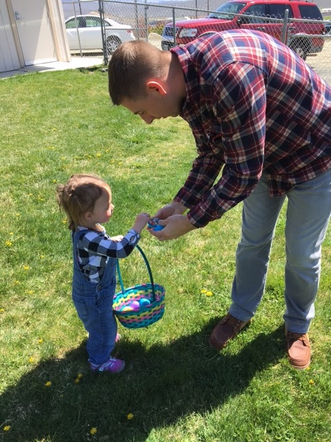 twins at Easter egg hunt