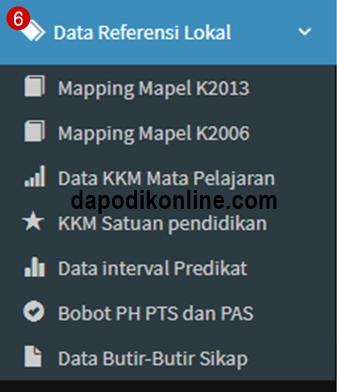 Fungsi menu data referensi lokal di aplikasi e-rapor