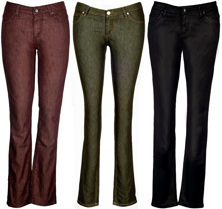 SHINE ON!! Metallic Brown, Metallic Green and Leather Party Denims by IML Jeans Co.