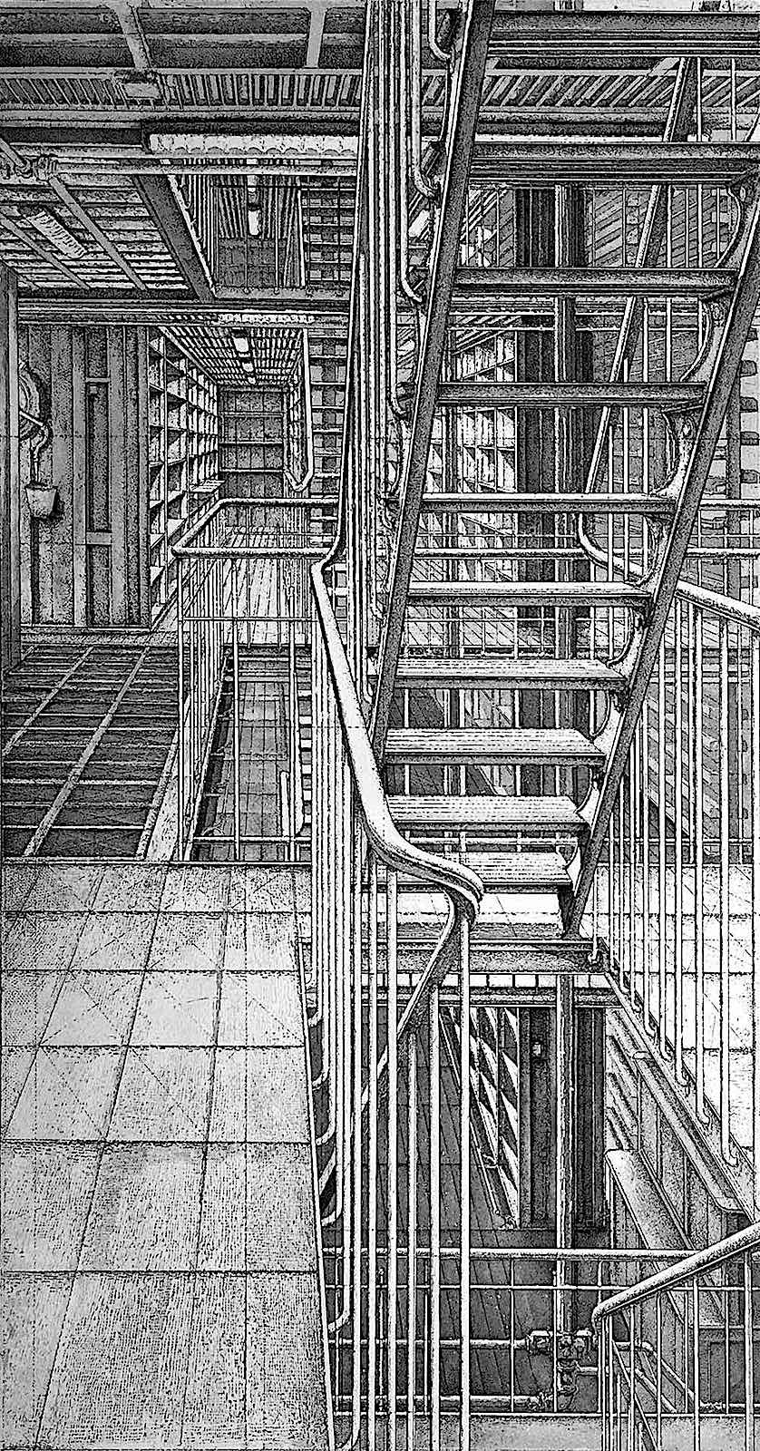 Erik Desmazieres art, complicated stairs