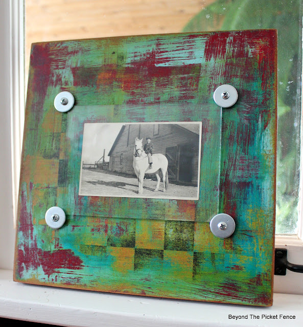 funky boho frame made from a thrift store checker board