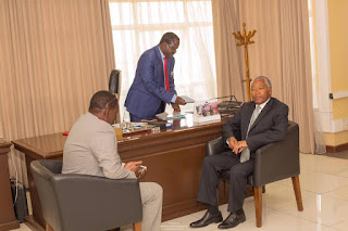 NASA claimed the votes battlefields are their. Odinga welcomes Ali Mwakwere in his office. PHOTO | Courtesy