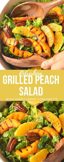 peach salad with honey lemon vinaigrette