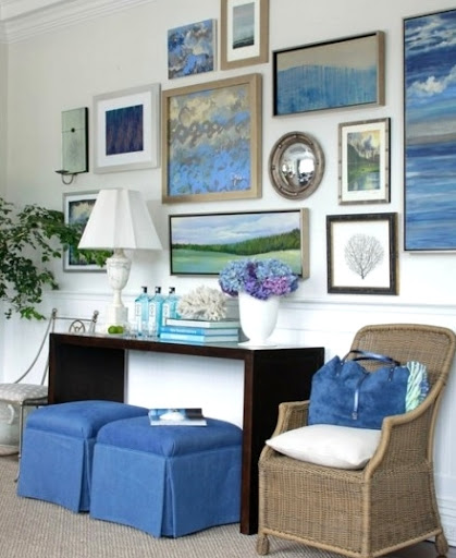 coastal gallery wall idea living room