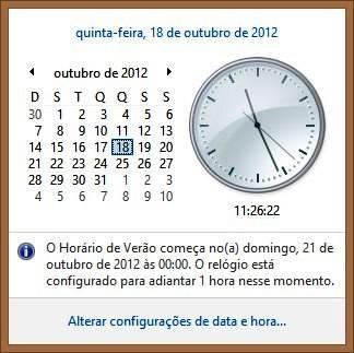 Data e hora do Windows