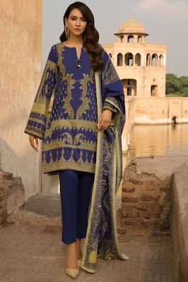 warda printed blue color suit with shirt, dupatta and trouser