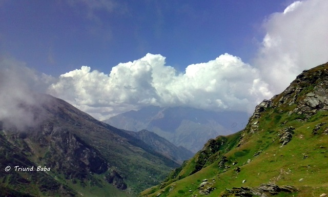 Chamba ManiMahesh Peak and Clouds view from Jalsu Pass