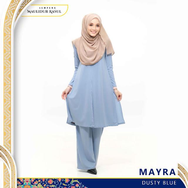 Mayra Jubah Seluar Plain Tanpa Gosok Dusty Blue