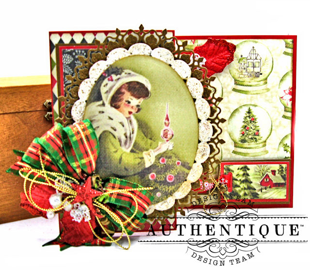 Authentique Vintage Christmas Z Fold Cards 3 Ways Tutorial by Kathy Clement Product by Authentique Photo 2