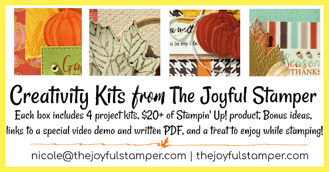 creativity kits, stamp kits, stampin' up! kits, gather together stamp set, gathered leaves dies, gather together bundle, fall cards, homemade cards, learn to stamp, how to make a card, stamp clubs, nicole steele, independent stampin' up! demonstrator pittsburgh pa