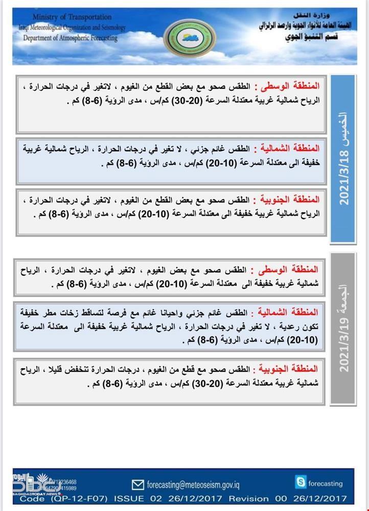 أمطار و ارتفاع بدرجات الحرارة.. طقس العراق إلى نهاية الأسبوع الحالي جداول توقعات هيأة الأنواء الجوية بخصوص حالة الطقس خلال الايام الثلاثة المقبلة: